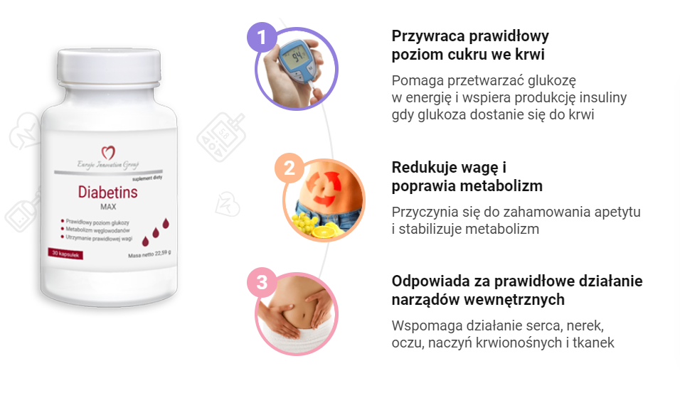 Za pomocą Diabetins można uzyskać następujące efekty: